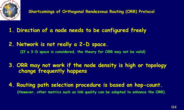 Shortcomings of Orthogonal Rendezvous Routing (ORR) Protocol