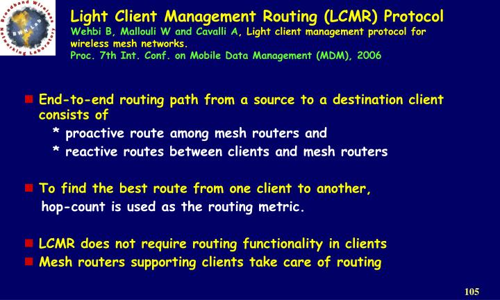 Light Client Management Routing (LCMR) Protocol