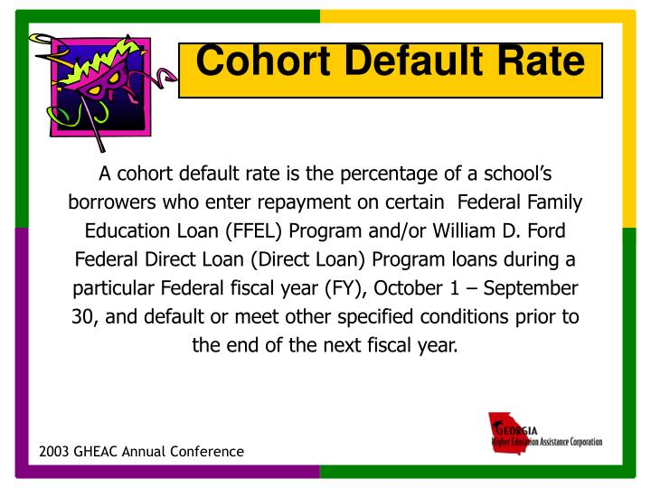 A cohort default rate is the percentage of a school's