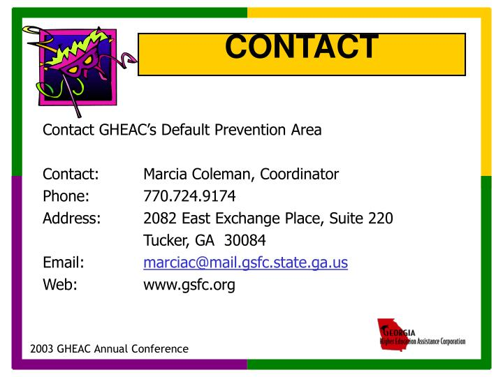 Contact GHEAC's Default Prevention Area