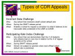 types of cdr appeals