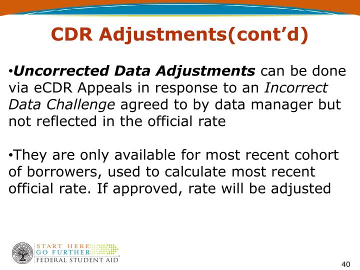 CDR Adjustments(cont'd)