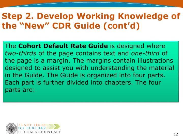 "Step 2. Develop Working Knowledge of the ""New"" CDR Guide (cont'd)"