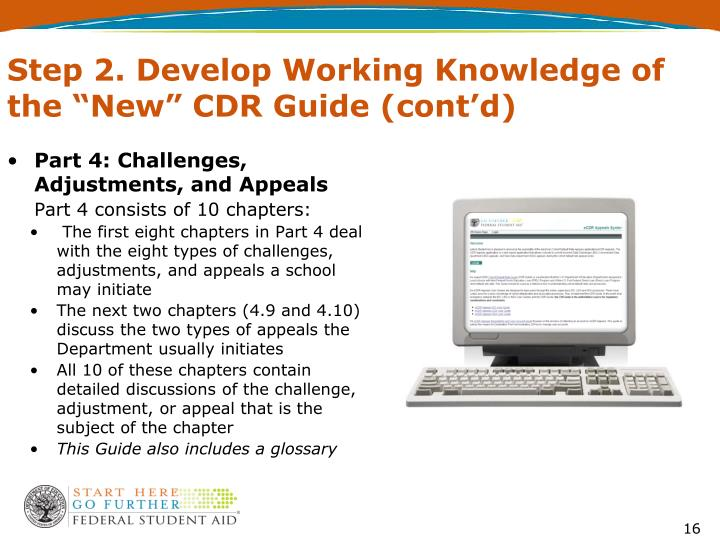 """Step 2. Develop Working Knowledge of the """"New"""" CDR Guide (cont'd)"""