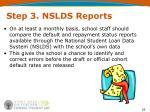 step 3 nslds reports1