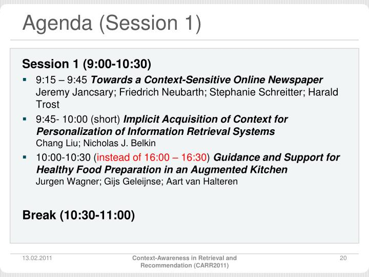 Agenda (Session 1)
