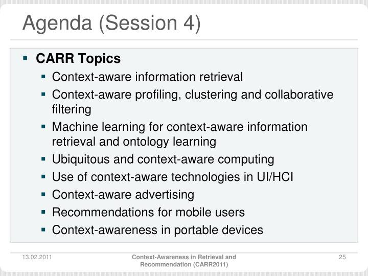 Agenda (Session 4)