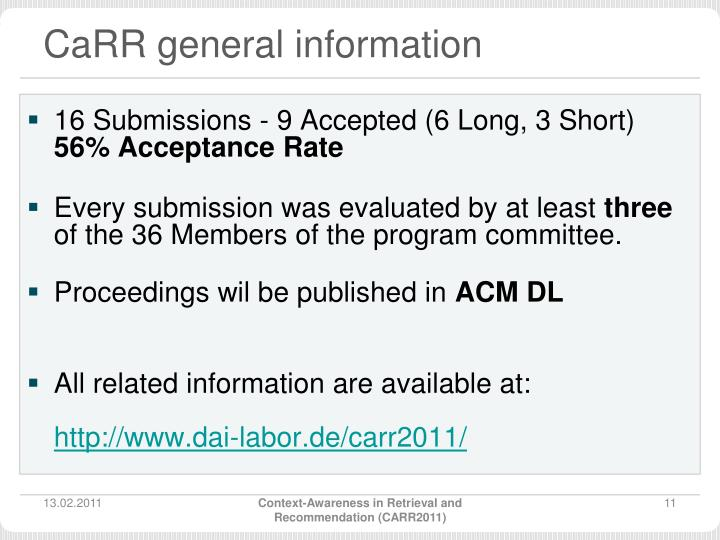CaRR general information