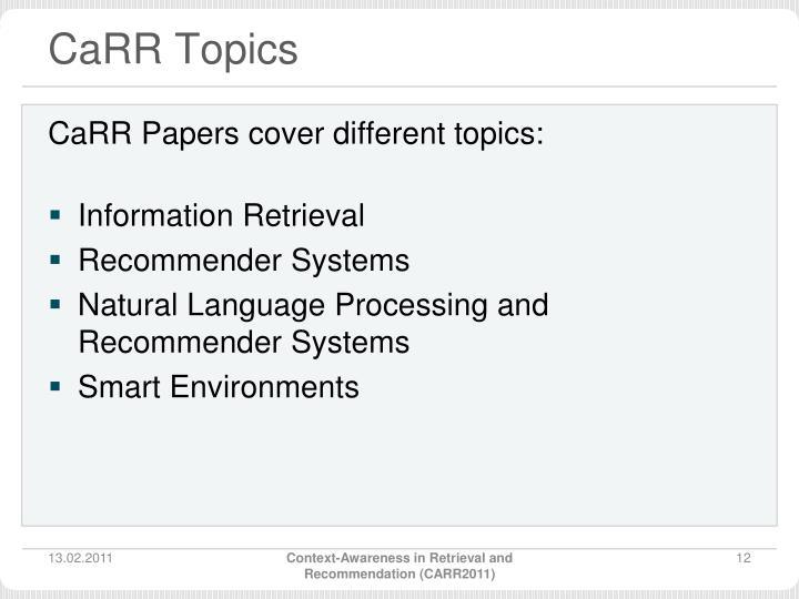 CaRR Topics
