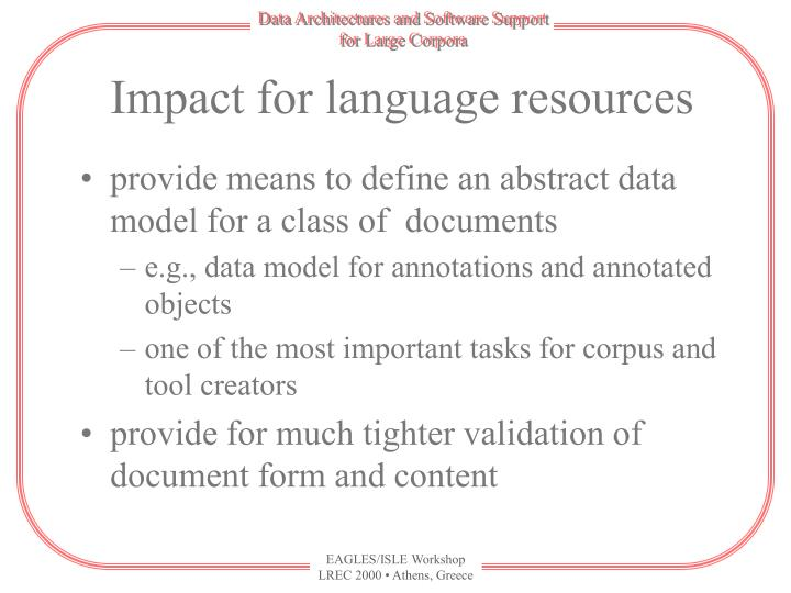 Impact for language resources