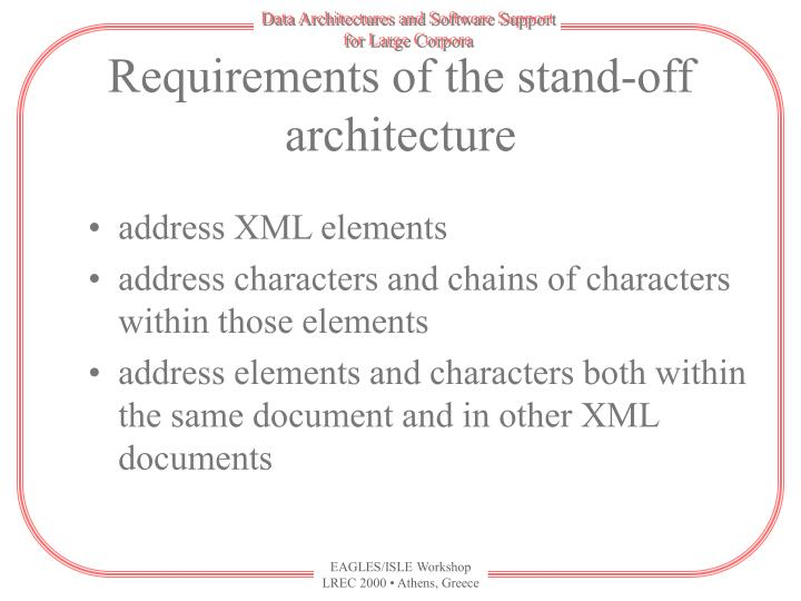 Requirements of the stand-off architecture