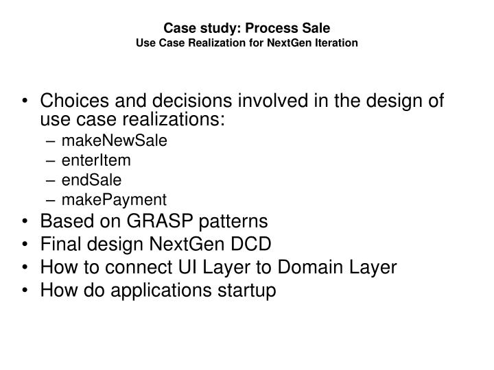 Case study: Process Sale