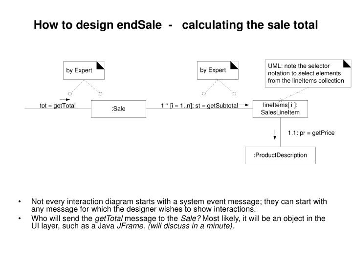 How to design endSale  -   calculating the sale total