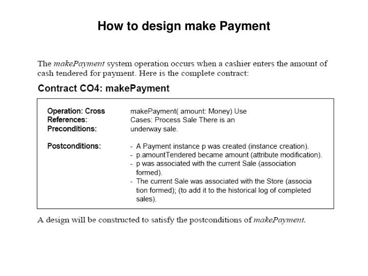 How to design make Payment