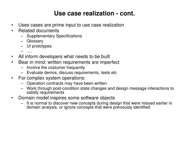 Use case realization - cont.