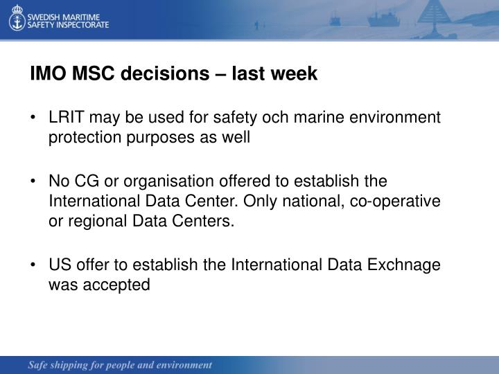 IMO MSC decisions – last week