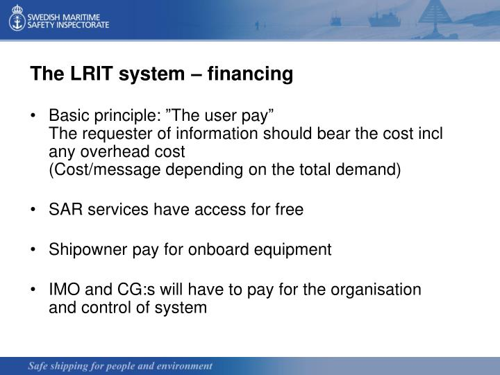 The LRIT system – financing