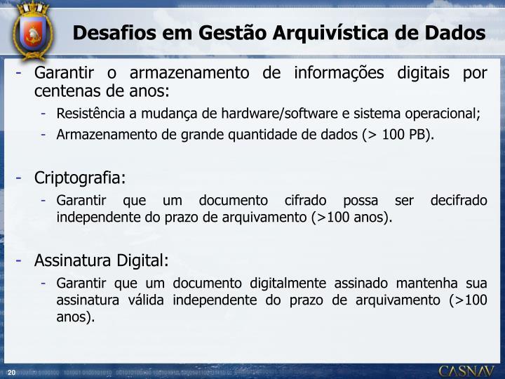 Desafios em Gestão Arquivística de Dados