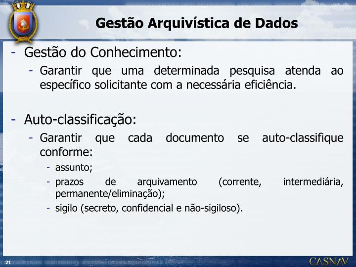 Gestão Arquivística de Dados