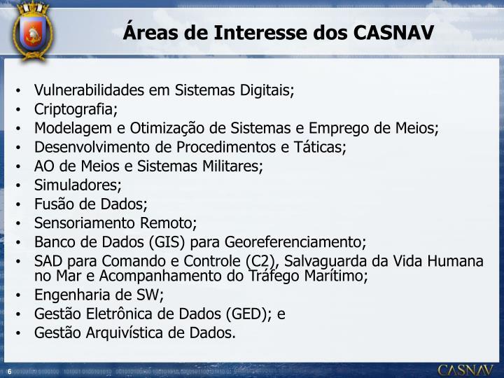 Áreas de Interesse dos CASNAV