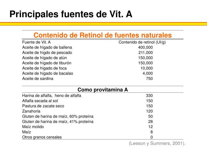 Principales fuentes de Vit. A