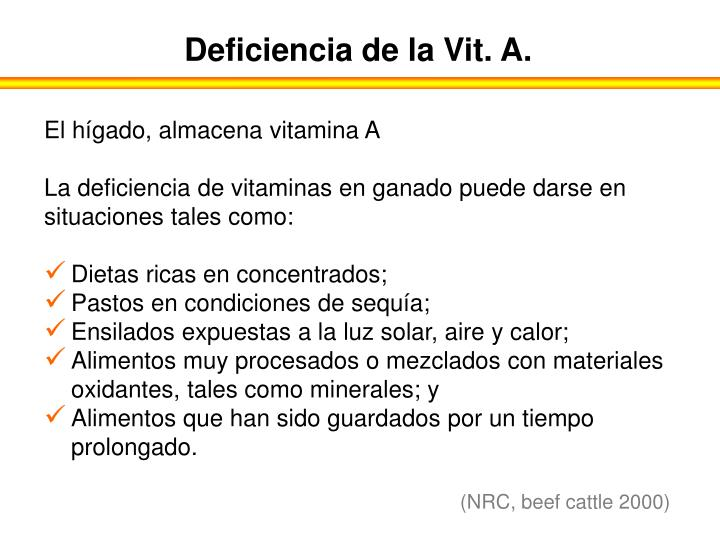 Deficiencia de la Vit. A.
