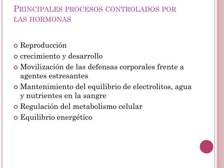Principales procesos controlados por las hormonas