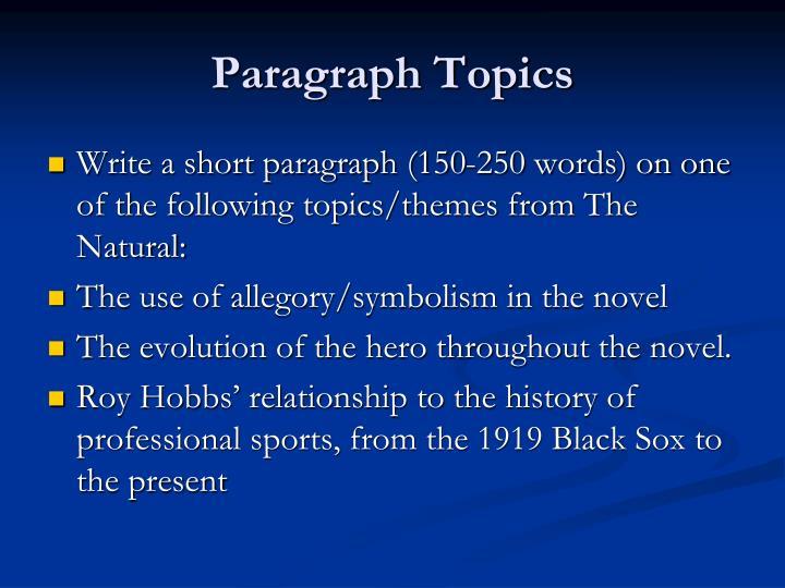 Paragraph Topics