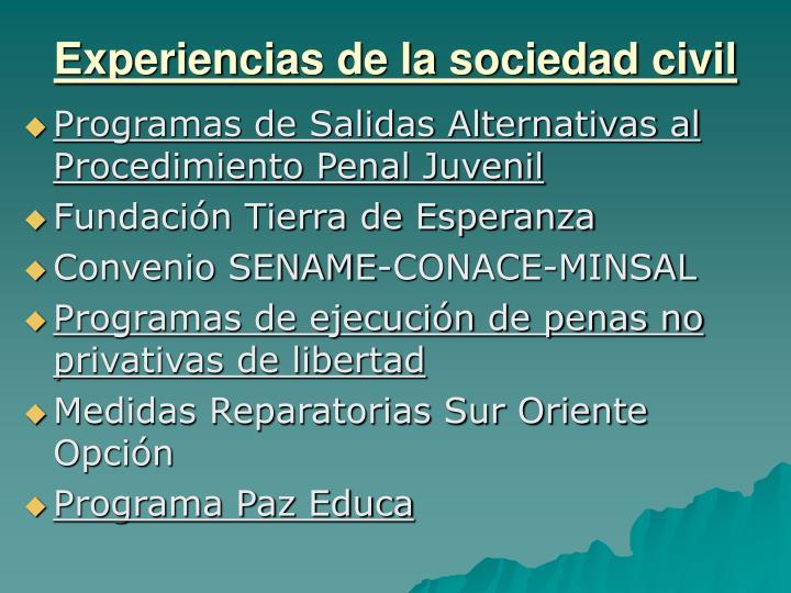 Experiencias de la sociedad civil