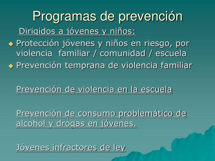 Programas de prevención