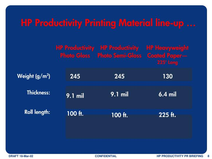 HP Productivity Printing Material line-up …