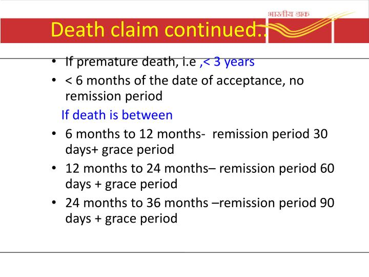 Death claim continued..