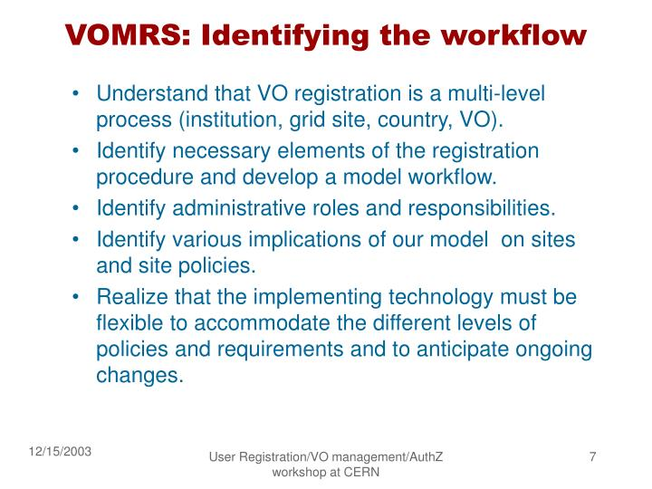 VOMRS: Identifying the workflow