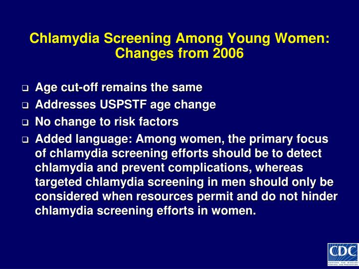 Chlamydia Screening Among Young Women: Changes from 2006