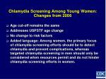 chlamydia screening among young women changes from 2006