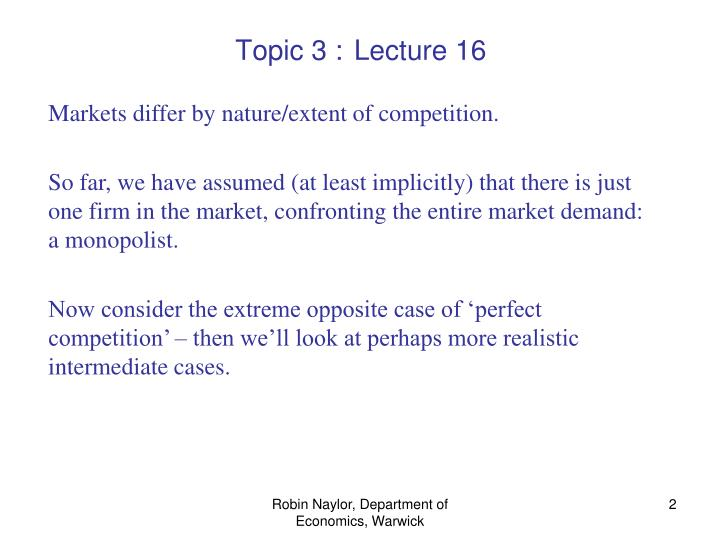 Topic 3 lecture 16