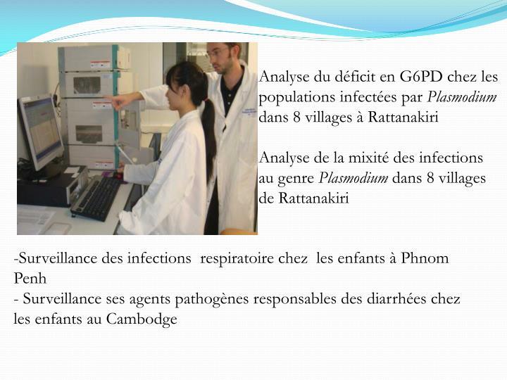 Analyse du déficit en G6PD chez les populations infectées par