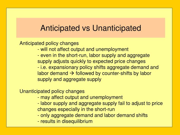 Anticipated policy changes