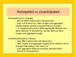 anticipated vs unanticipated