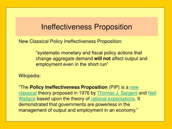New Classical Policy Ineffectiveness Proposition: