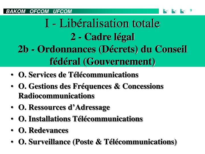 I - Libéralisation totale