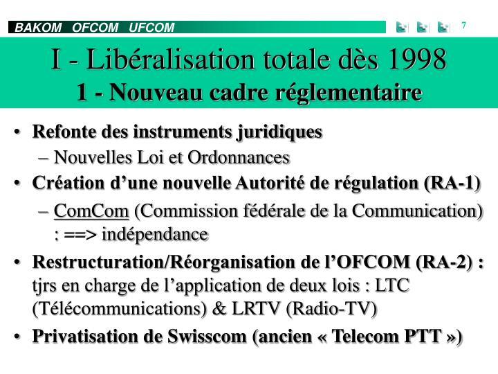 I - Libéralisation totale dès 1998