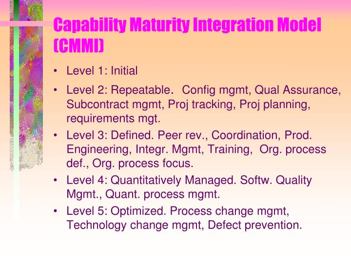 Capability Maturity Integration Model (CMMI)