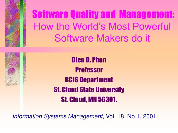 Software Quality and  Management: