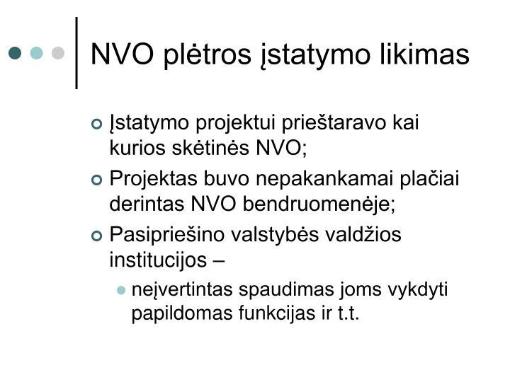 NVO plėtros įstatymo likimas