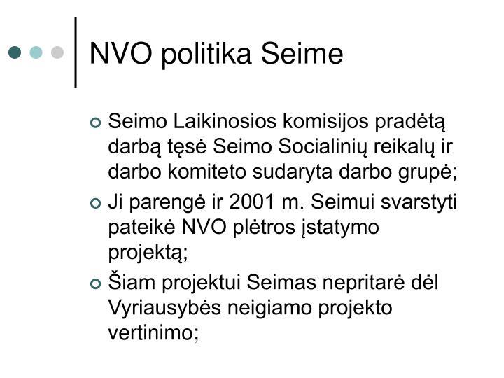 NVO politika Seime