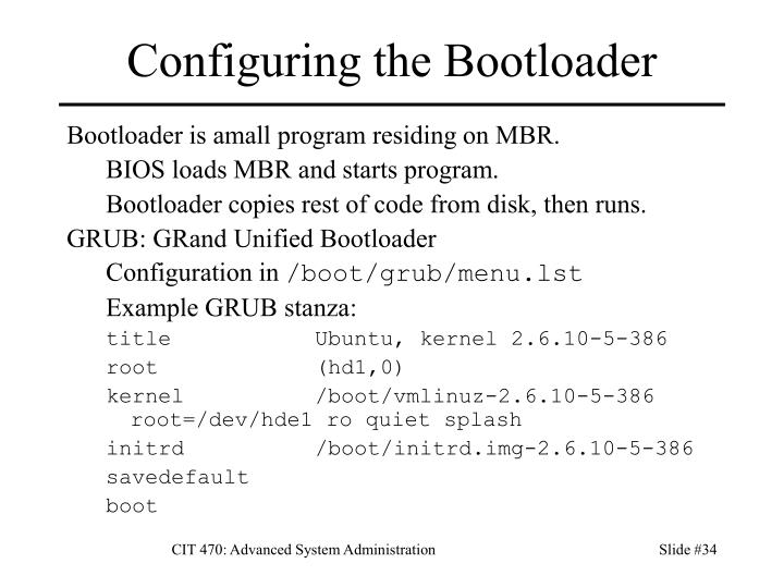 Configuring the Bootloader