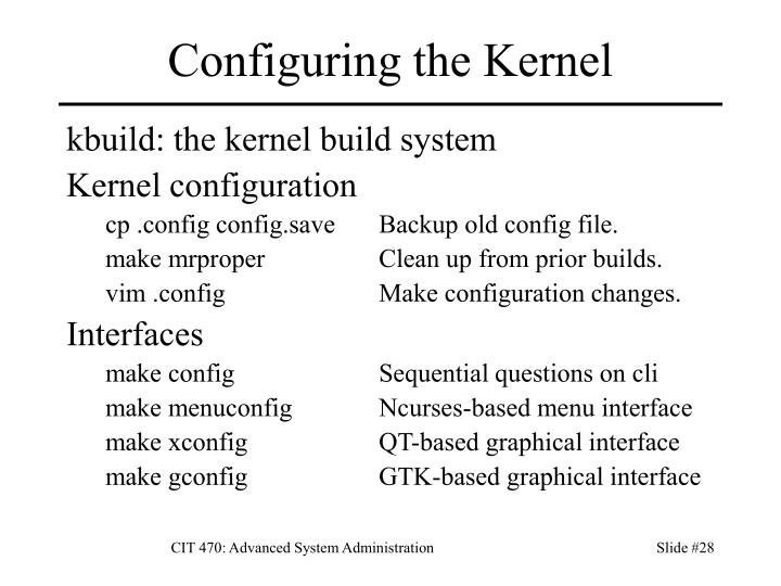 Configuring the Kernel