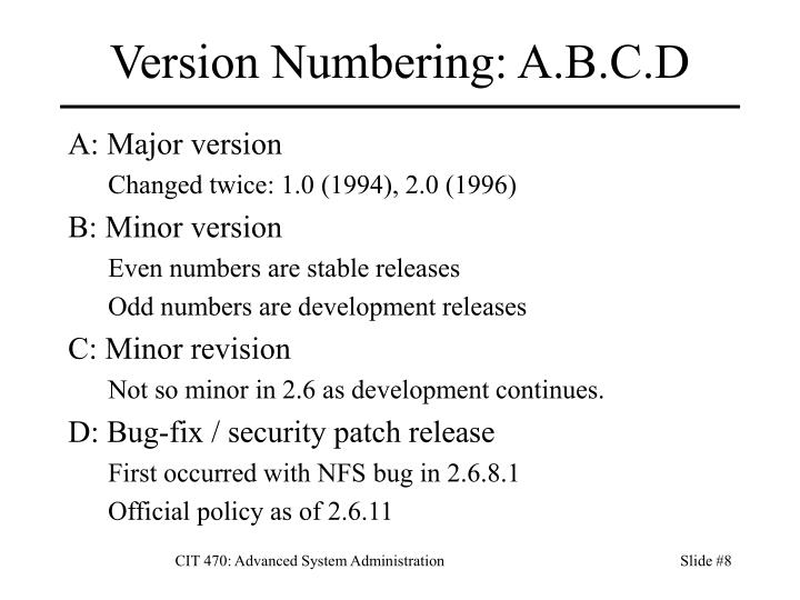 Version Numbering: A.B.C.D