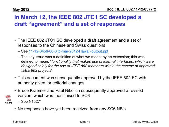 "In March 12, the IEEE 802 JTC1 SC developed a draft ""agreement"" and a set of responses"